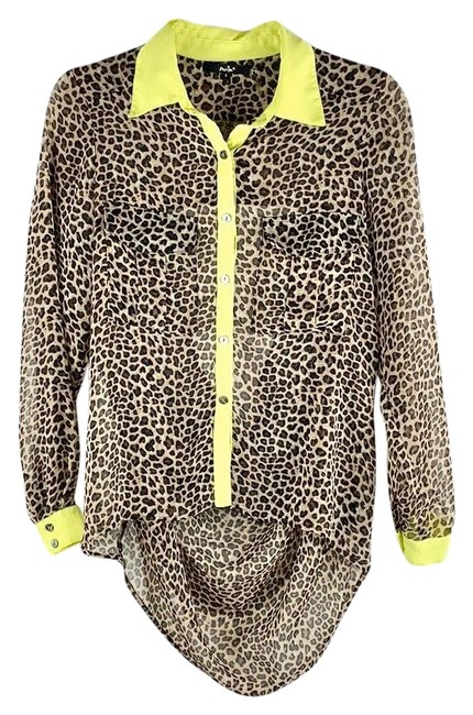 Item - Black Brown Neon Green Sheer Cheetah Print Button-up Open Blouse Size 6 (S)