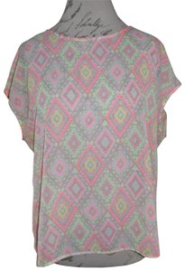 HeartSoul Open-back Southwest Print Sleeveless Top Neon Pink, Yellow, Beige, White