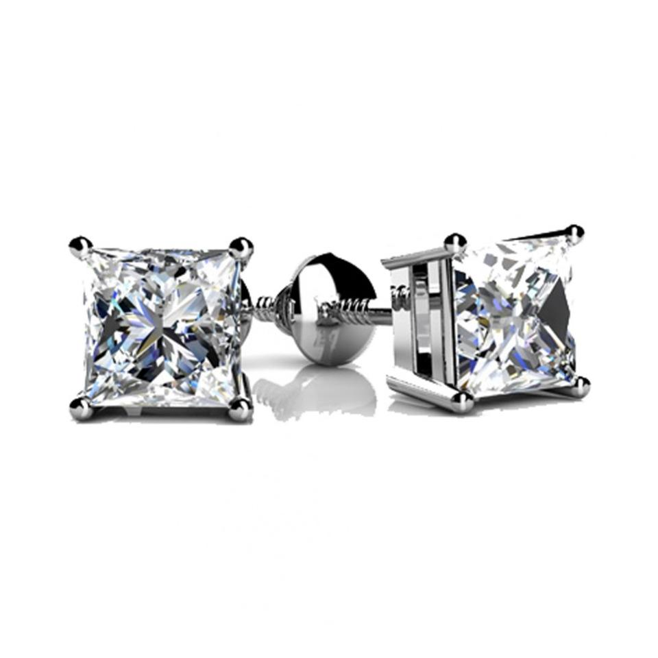 Madina Jewelry White 2 00 Ct Princess Cut Cubic Zirconia Stud In Back Earrings