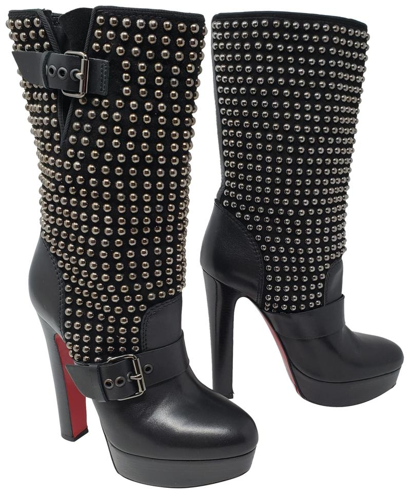 info for fe059 f6f22 Christian Louboutin Black Leather Studded Marisa Platform Boots/Booties  Size EU 36 (Approx. US 6) Regular (M, B) 64% off retail