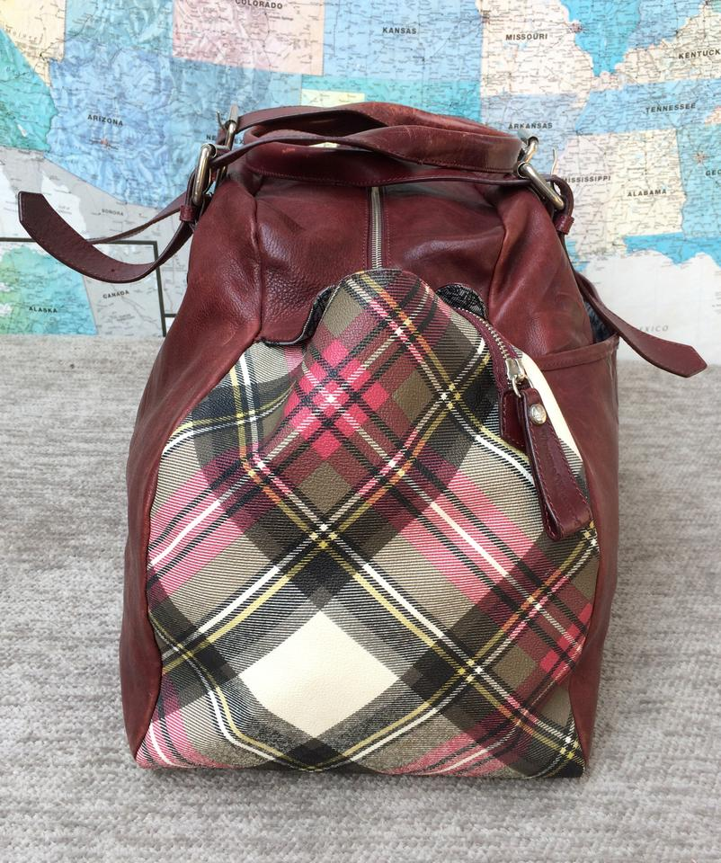 ad7f6c3a02 Vivienne Westwood Leather Tartan Plaid Large Punk Burgundy Travel Bag Image  11. 123456789101112