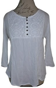 HeartSoul Lace Tie-around 3/4 Sleeves Peasant Top White