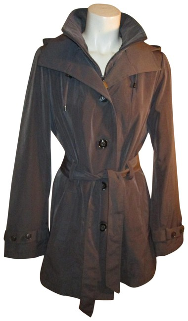 Item - Dark Gray Belted Hooded Coat Size 8 (M)