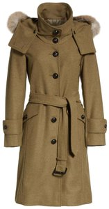 Burberry Claybrooke Fox Fur Mel Trench Coat