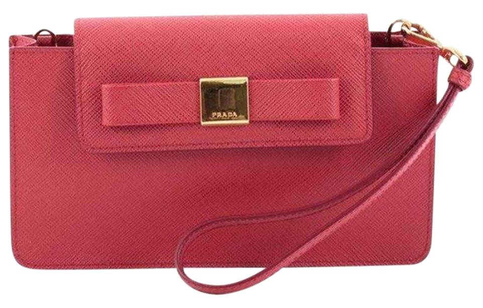 8076afbbcfb5 Prada Women s Saffiano Fiocco 1zh034 Red Leather Cross Body Bag ...