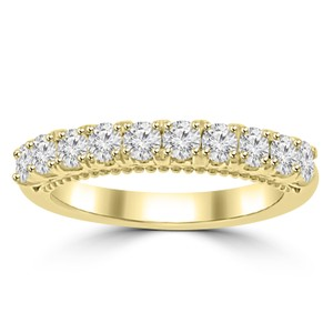 Madina Jewelry Yellow 0.80 Ct Ladies Round Cut Diamond Band In Prong Setting Gold Ring