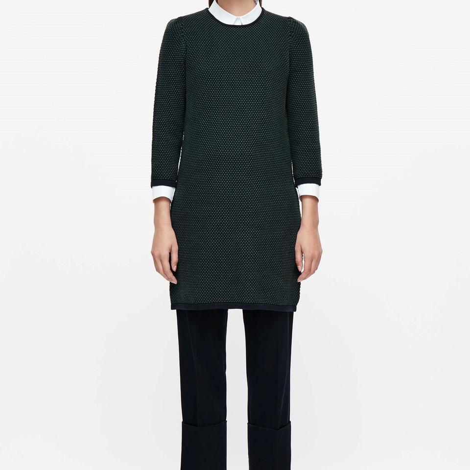 c7150f383391 COS Black Green Raised Knit Sweater Short Casual Dress Size 8 (M ...