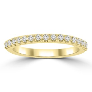 Madina Jewelry Yellow 0.25 Ct Ladies Round Cut Diamond Band In 4 Prong Setting Ring