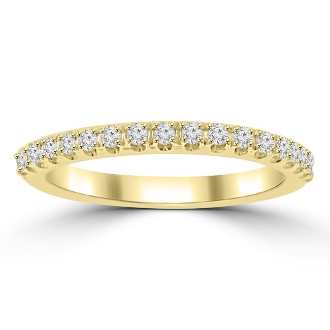 Item - Yellow 0.25 Ct Ladies Round Cut Diamond Band In 4 Prong Setting Ring