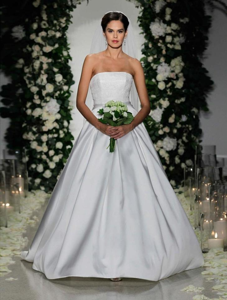 Anne Barge Pearl Looks Diamond White Lace And Mikado Cloister Formal Wedding Dress Size