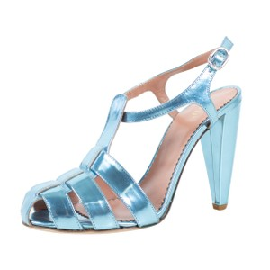 RED Valentino Metallic Laminated Leather Chunky Sandals Blue Pumps