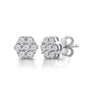 Madina Jewelry White 2.00 Ct Flower Set Round Cut Cubic Zirconia Stud In Push Back Earrings