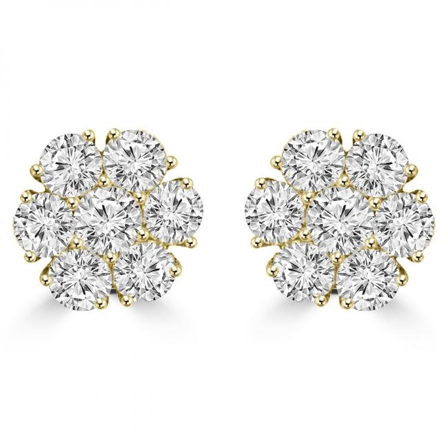 Item - Yellow 1.80 Ct Round Cut Diamond Cluster In 14 Kt Gold Earrings