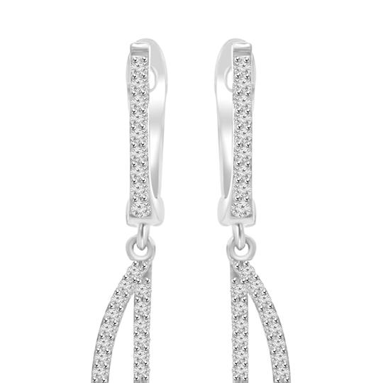 Madina Jewelry White 1.06 Ct Ladies Round Cut Diamond Drop Dangling In 18 Kt Gold Earrings Image 3