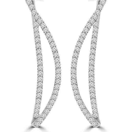 Madina Jewelry White 1.06 Ct Ladies Round Cut Diamond Drop Dangling In 18 Kt Gold Earrings Image 5
