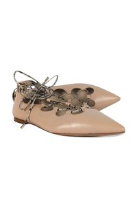 Coach Nude Pointed Strappy Lace Up pink Flats
