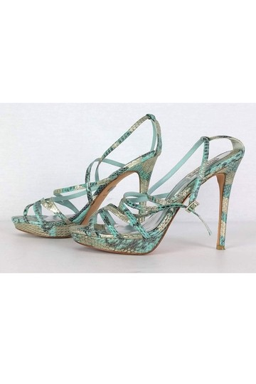 Badgley Mischka Snakeskin Teal Silver green Pumps