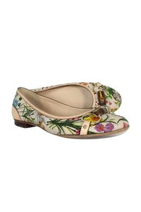 Gucci White Floral Bamboo Flats