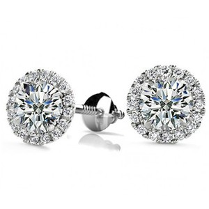 Madina Jewelry White 1.50 Ct Round Cut Cubic Zirconia Stud In Screw Back Earrings