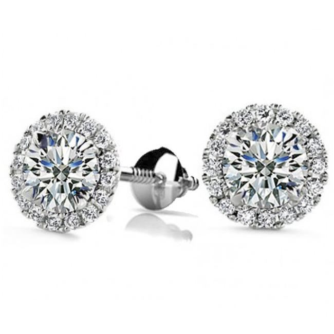 Item - White 1.50 Ct Round Cut Cubic Zirconia Stud In Screw Back Earrings