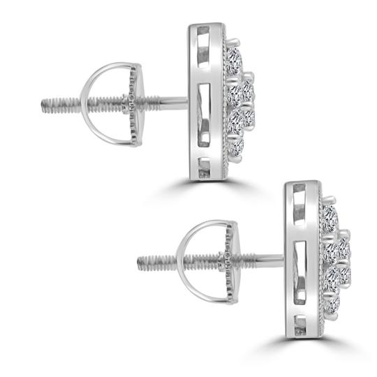 Madina Jewelry White 1.68 Ct Round Cut Cubic Zirconia Stud In Screw Back Earrings