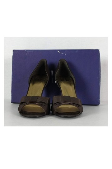 Stuart Weitzman Satin Peeptoe Brown Pumps