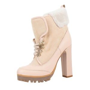 RED Valentino Fur Winter Heel Star Nude Boots