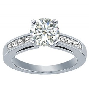 Madina Jewelry White 1.50 Ct Ladies Round Cut Diamond with Princess Cut's O Engagement Ring