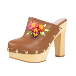 RED Valentino Heel Leather Wood Floral Brown Mules