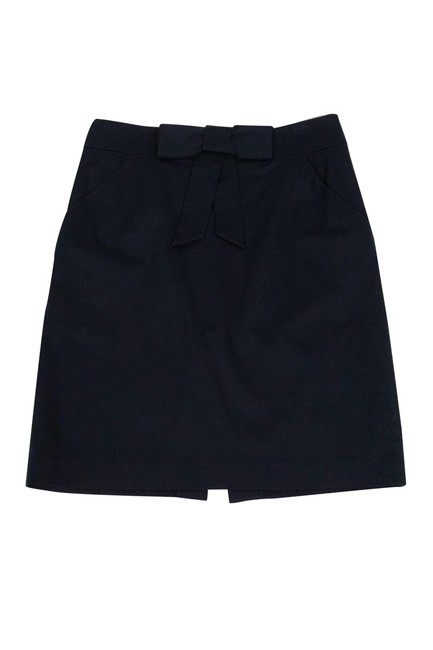 MILLY Navy Bow Pencil Skirt