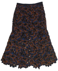 SALONI Navy Brown Lace Skirt