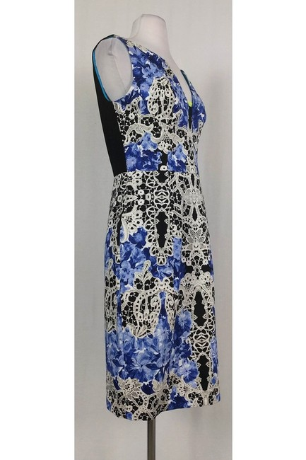 Elie Tahari short dress black Blue White Lace Print on Tradesy