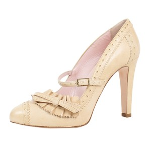 RED Valentino Heel Bow Leather Buckle Beige Pumps