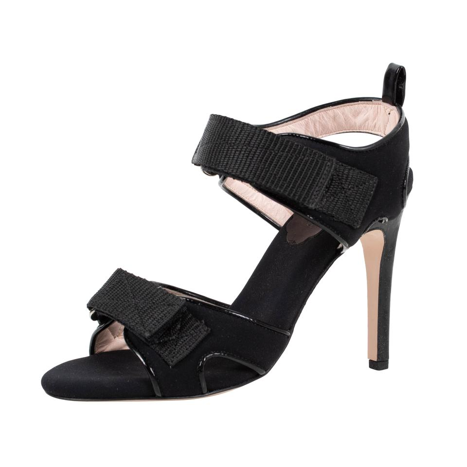 RED Valentino Black Strappy Pumps Open Toe Leather Pumps Strappy 4277d9