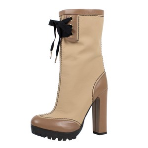 RED Valentino Winter Leather Heel Lace Up Beige Boots