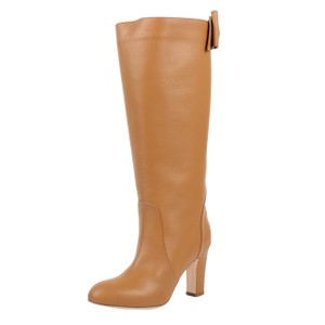 RED Valentino Winter Leather Heel Bow Tan Boots