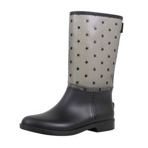 RED Valentino Rubber Rain Mesh Star Black Boots