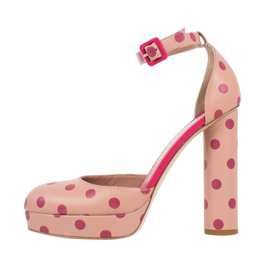 49050eaa51d RED Valentino Ankle Strap Leather Polka Dot Platform Rose Pink Pumps Image  6. 1234567