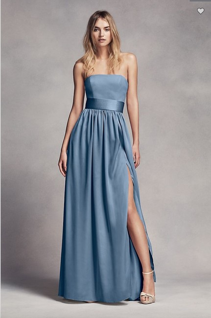 Item - Steel Blue Satin Crepe and Charmeuse Vw360307 Formal Bridesmaid/Mob Dress Size 16 (XL, Plus 0x)