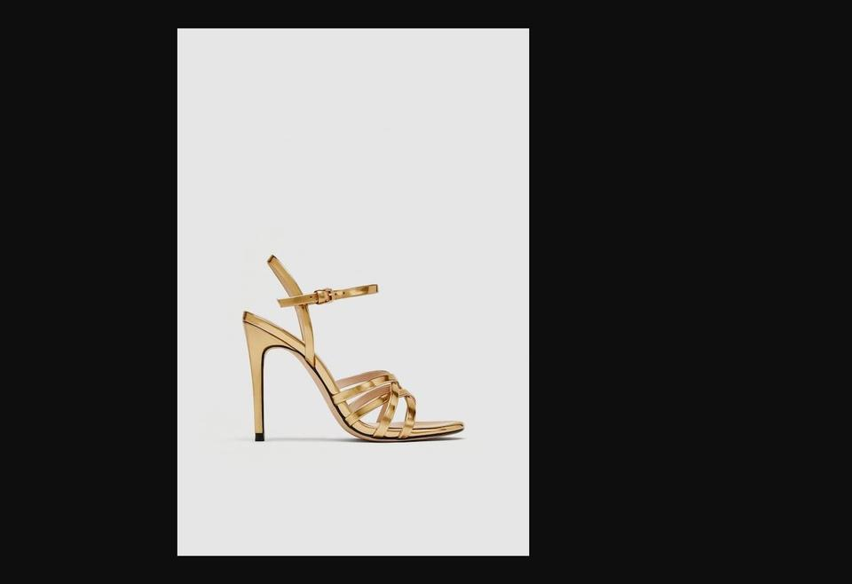 b899484f5e31 Zara Gold Laminated Strappy Sandals Size EU 38 (Approx. US 8 ...