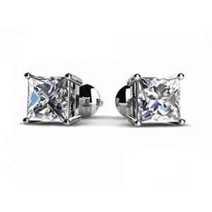 Madina Jewelry White 1.00 Ct Princess Cut Cubic Zirconia Stud In Screw Back Earrings