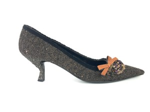 Prada Tweed Sparkly Pointed Toe Black Brown Pumps