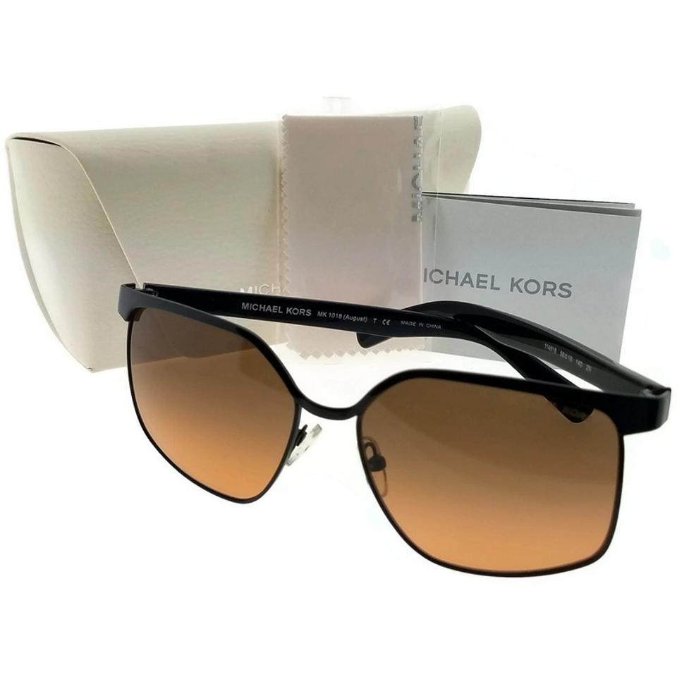 0c8936583ad Michael Kors Black Frame Mk1018-114618-56 Squared Women s Brown Lens  Sunglasses