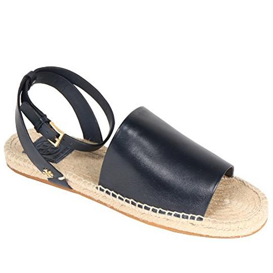 Tory Burch Tb Logo Espadrille Leather Bright Navy Sandals