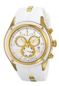 Mulco MULCO BLUE MARINE MOTHER OF PEARL DIAL WHITE RUBBER BAND LADIES WATCH
