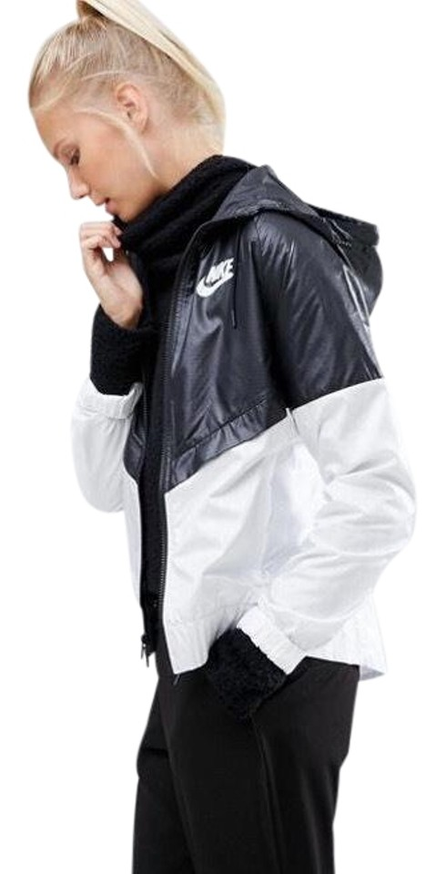 74d370c8d01e Nike Women s Nike Sportswear Windrunner Hoodie Black and White Track Jacket  elevates the original running layer ...