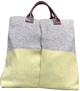 Orla Kiely Wool Leather Trim Color Block Tote in Grey, green