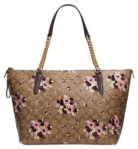 Coach Tote in KHAKI MULTI /Light Gold