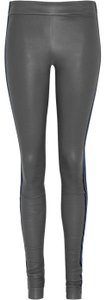 Les Chiffoniers Velvet Leather Pants Size Xs O GRAY BLUE Leggings