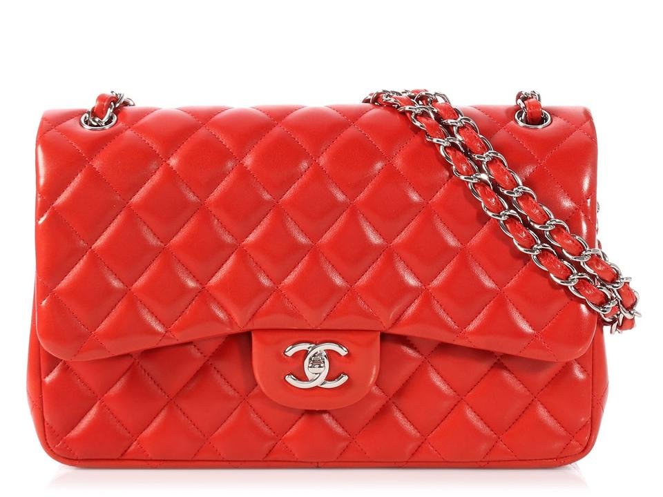 c82a4139441b Chanel Double Flap Classic Jumbo Quilted Red Lambskin Leather Shoulder Bag